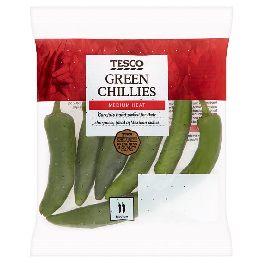 image 1 of Tesco Green Chillies 65G
