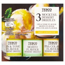 Tesco 3 Mocktail Dessert Drizzles 3X38ml