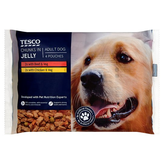 Tesco Cuts In Jelly Dog Food Pouches 4 X100g