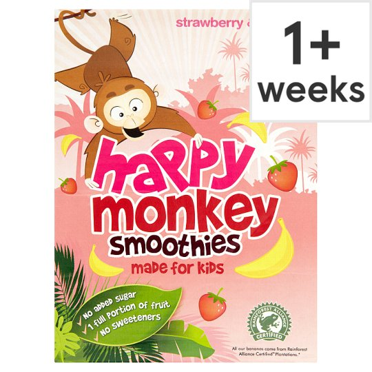 Happy Monkey Strawberry And Banana Smoothie 4 X 180 Ml