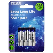 Tesco Long Life Aaa 4 Pack