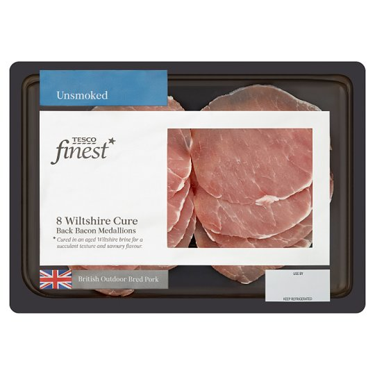 Tesco Finest Unsmoked Bacon Medallions 160G