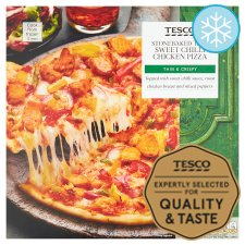 Tesco Stonebaked Thin Sweet Chilli Chicken Pizza 330G