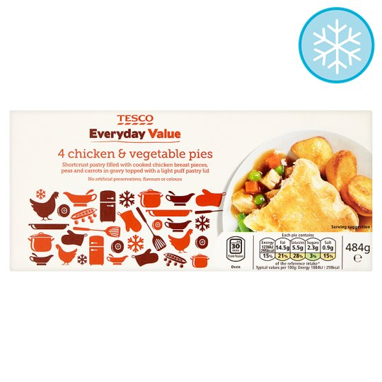 Tesco Everyday Value 4 Chicken Vegetable Pies 484G