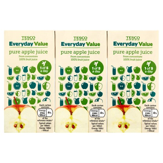 Tesco Everyday Value Apple Juice 3X200ml