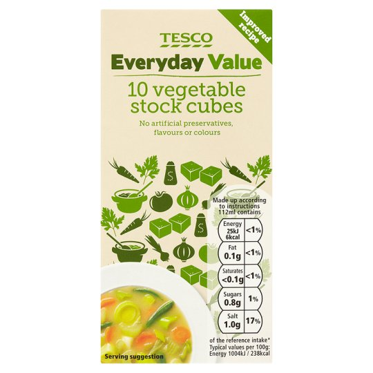 Tesco Everyday Value Vegetable Stock Cubes 100G 10 Pack