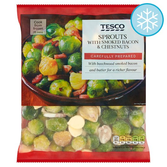 Tesco Sprouts Chestnuts And Bacon 500G