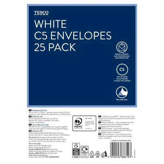 Tesco White C5 Envelopes 25Pk