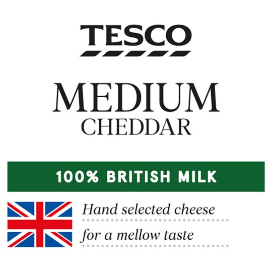 Tesco British Medium Cheddar Slices 125G