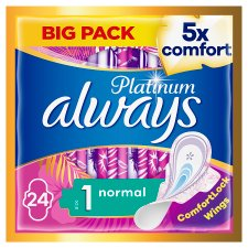 Always Platinum Normal Size 1 Sanitary Towels With Wings 24S