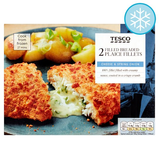 Tesco 2 Plaice Fillets Spring Onion And Cheese Sauce 370G