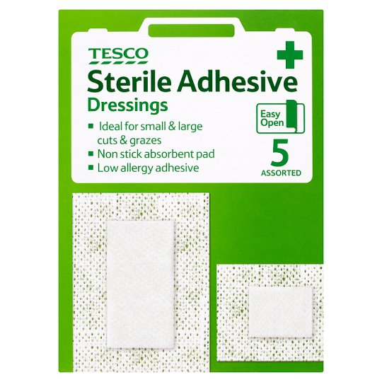 Tesco Sterile Adhesive Dressing Assorted 5'S
