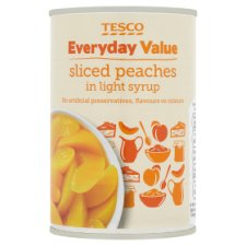 Tesco Everyday Value Peaches In Light Syrup 410G