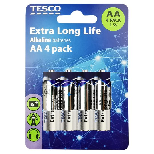 Tesco Long Life Aa 4 Pack