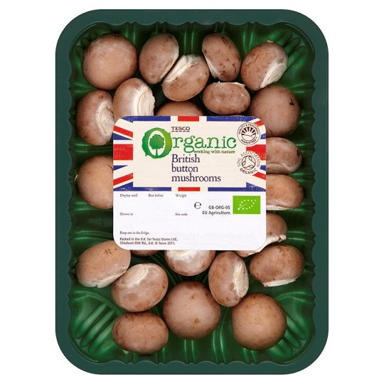 Tesco Organic Button Mushrooms 150G