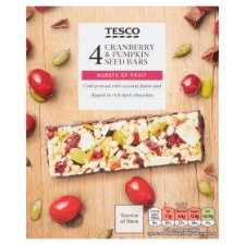 Tesco Cranberry Pumpkin Seed And Dark Chocolate Bars 140G