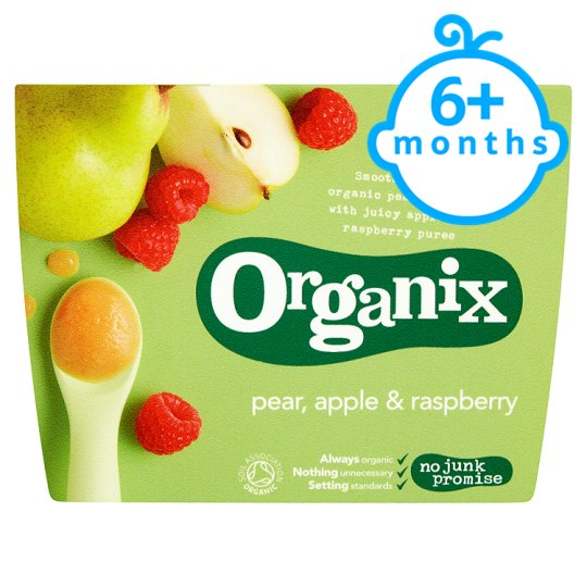 Organix 4 Month Fruit Puree Pear,Apple Raspberry 4X100g