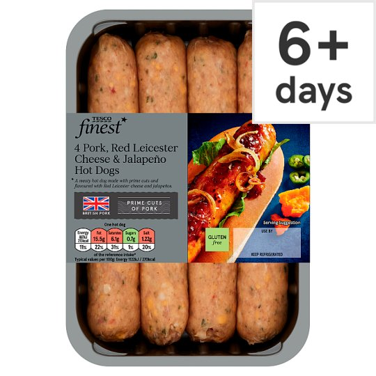 Tesco Finest 4 Cheese And Jalapeno Hot Dogs 400G