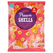 Tesco Prawn Shells Snack 6 X 14.4 G
