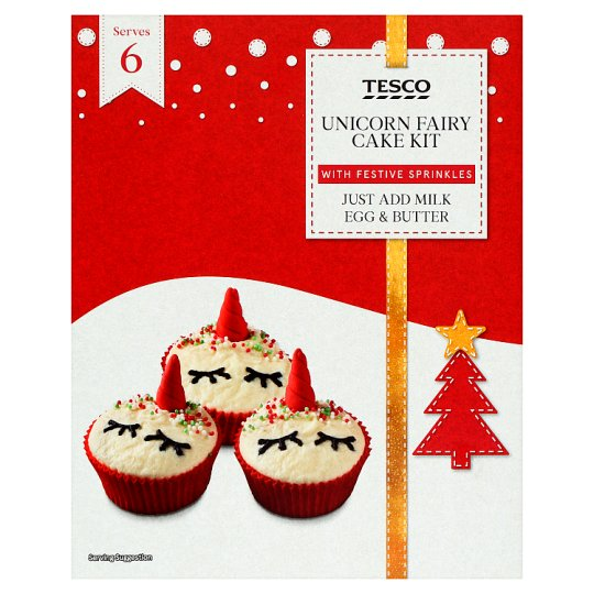 Tesco Christmas Unicorn Fairy Cake Kit 295g Tesco Groceries
