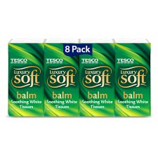 Tesco Balm Pocket Tissues 8 Pack