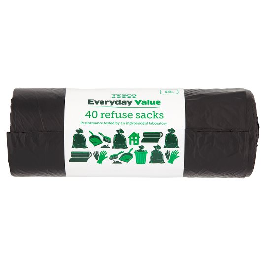 Tesco Everyday Value Refuse Sacks 40 Pack (58L)