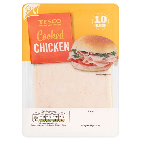 Tesco Cooked Sandwich Chicken 125G