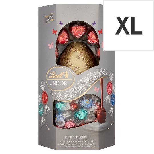image 1 of Lindt Lindor Silver Assorted Milk Chocolate Egg 355G