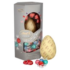 image 2 of Lindt Lindor Silver Assorted Milk Chocolate Egg 355G