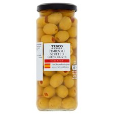 Tesco Pimiento Stuffed Olives In Brine 340G