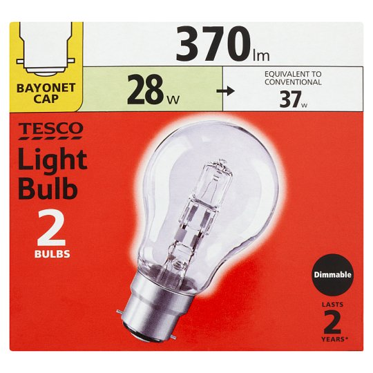 Tesco 28W Lightbulb Bayonet Cap 2 Pack