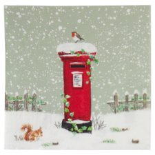 Tesco Christmas Postbox Robin And Squirrel Napkin 33Cm 20 Pack
