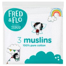 Fred And Flo Muslin Cloths White 3 Pack