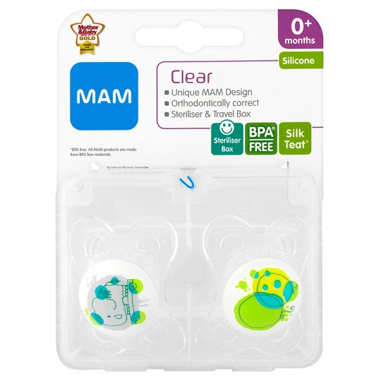 Mam Clear Soother 0+ Mths X2
