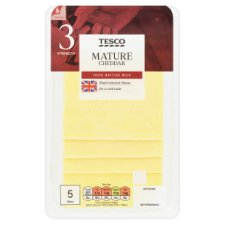 Tesco British Mature Cheddar Slices 125G