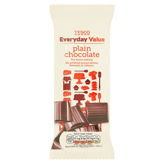 Tesco Everyday Value Cooking Chocolate Plain 100G