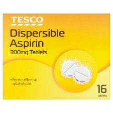 Tesco Dispersible Aspirin 300Mg 16 Tablets