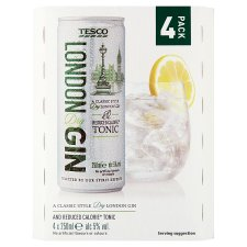Tesco Dry Gin And Low Calorie Tonic 4X250ml