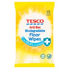 Tesco Antibacterial Lemon Floor 15 Wipes