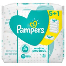 Pampers Sensitive Baby Wipes 6 Pack 336 Wipes