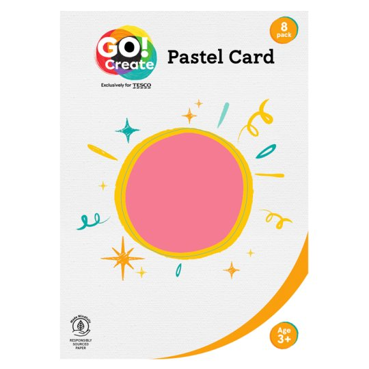 Tesco Go Create Pastel Card X8 Sheet