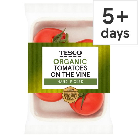 image 1 of Tesco Organic Large On The Vine Tomatoes 400G