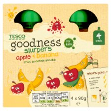 Tesco Goodness Apple And Banana Fruit Slurpers 4X90g