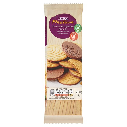 Tesco Free From Chocolate Digestive Biscuits 200G