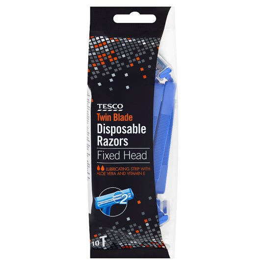 Tesco Mens Fixed Head Twin Blade Disposable Razors 10 Pack
