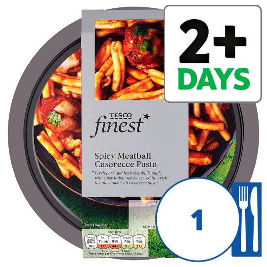 Tesco Finest Spicy Meatball Pasta 400G