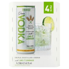 Tesco Vodka, Lime And Lemonade 4X250ml