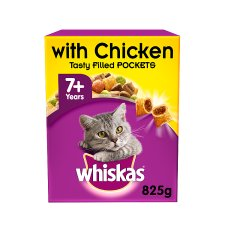 image 1 of Whiskas 7+ Chicken Dry Senior Cat Food 825G