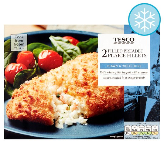 Tesco 2 Plaice Fillets Prawns In A White Wine Sauce 370G