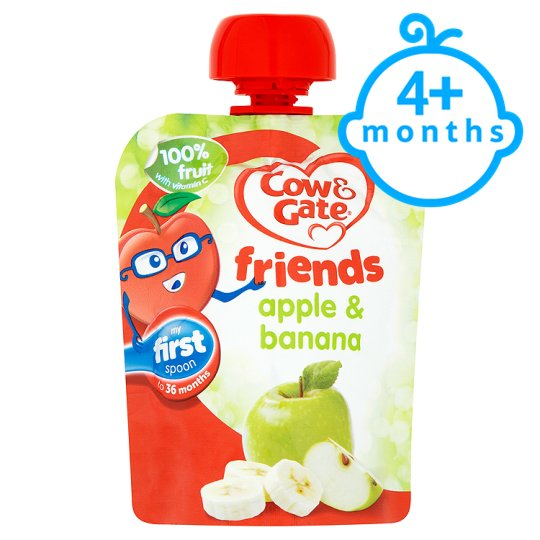 Cow & Gate Apple And Banana 100% Fruit Pouch 80G 4 Mth+